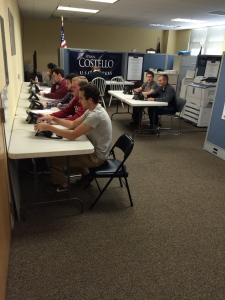 A few of our CR's making calls for Governor Corbett Ryan Costello for Congress' office.